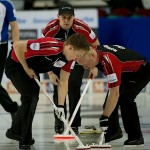 2015, Calgary Ab, Tim Hortons Brier, Ontario skip Mark Kean, lead Scott Howard, second David Mathers, Curling Canada/michael burns photo