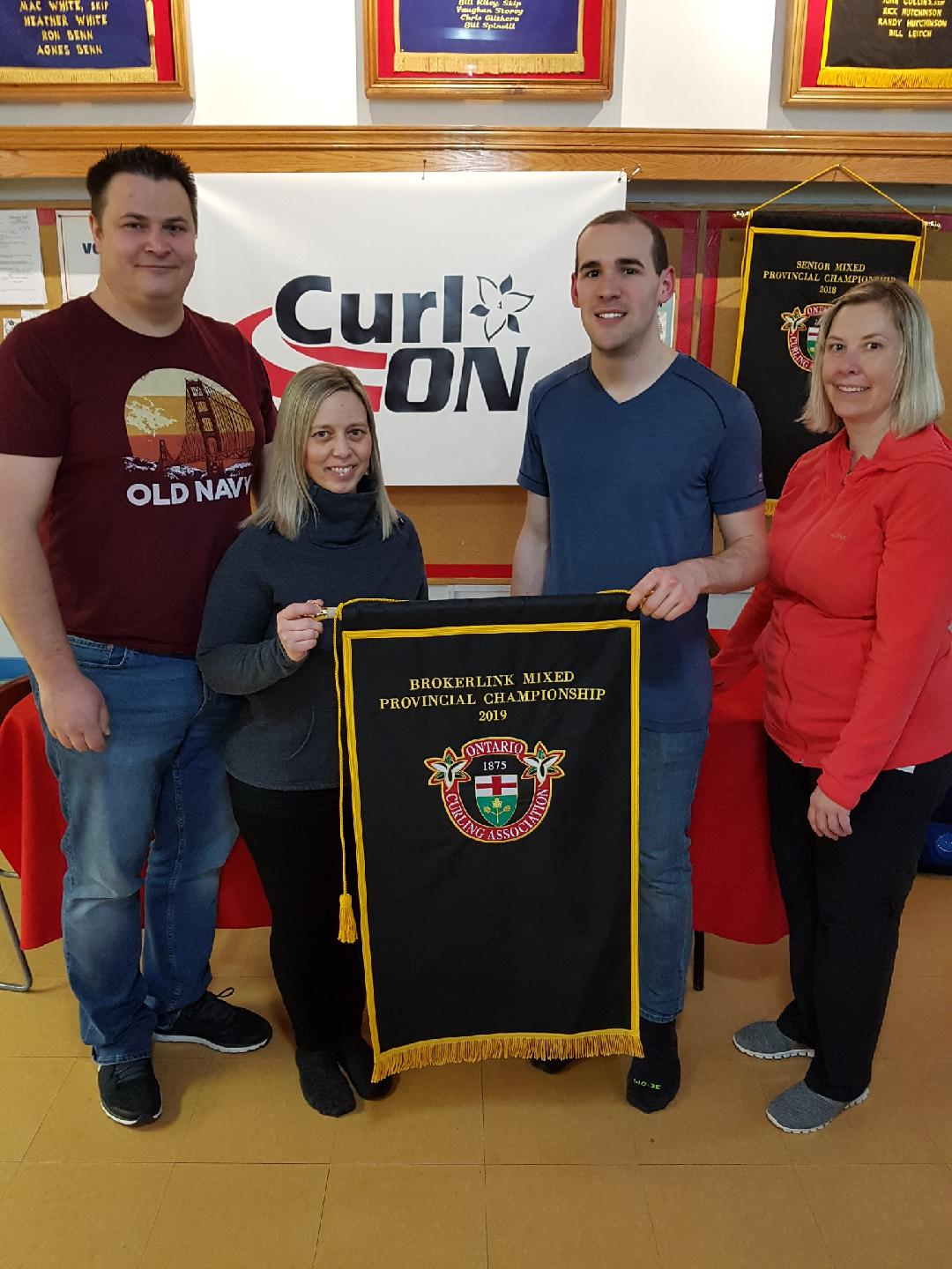 Skip Wayne Tuck, Third Kimberly Tuck, Second Wesley Forget, Lead Sarah Gatchell of the Ilderton Curling Club